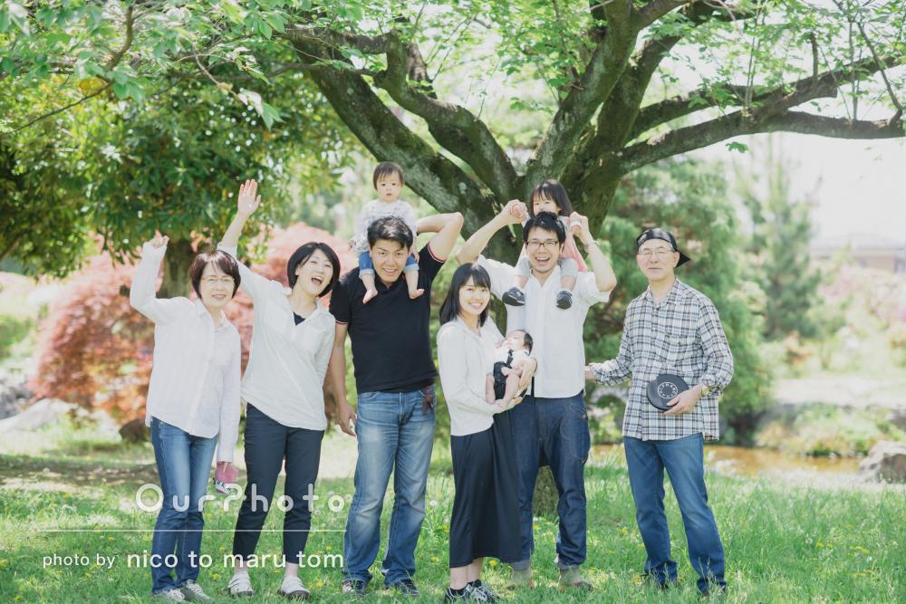 まばゆい新緑の中、生き生きと!楽しさいっぱいの家族写真の撮影