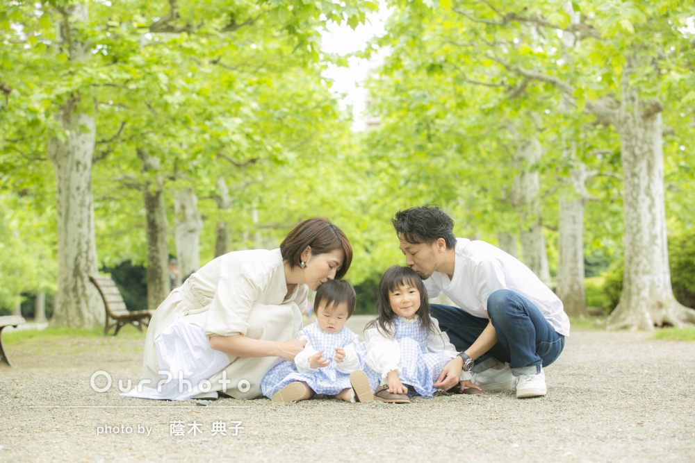 「とても穏やかな雰囲気」爽やかな緑と愛があふれる家族写真の撮影