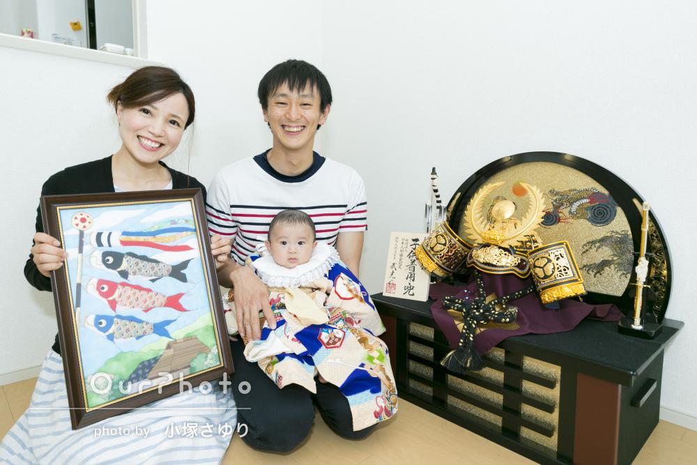 ご自宅で和装から公園で自然な姿まで!初節句の家族写真の撮影