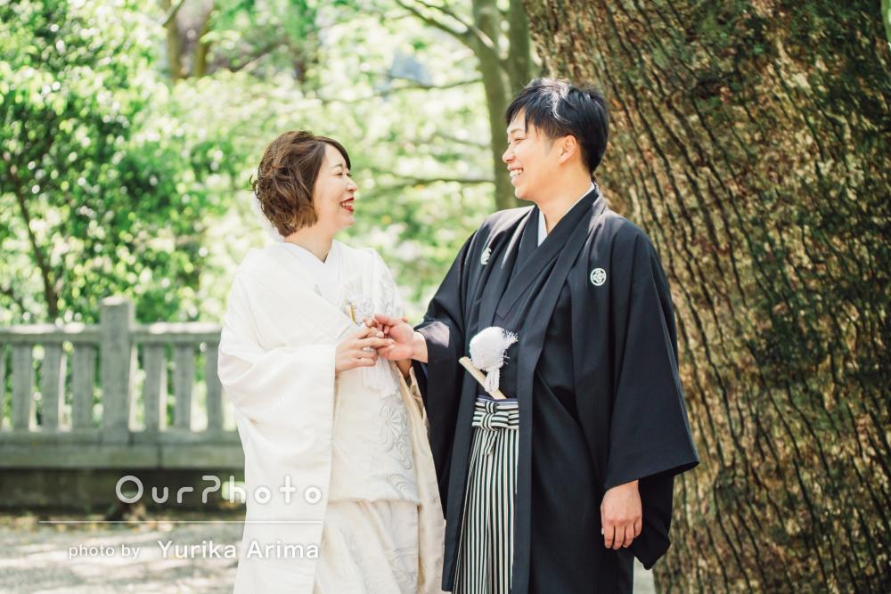二人の未来を照らす光に包まれて…神前式による結婚式の撮影