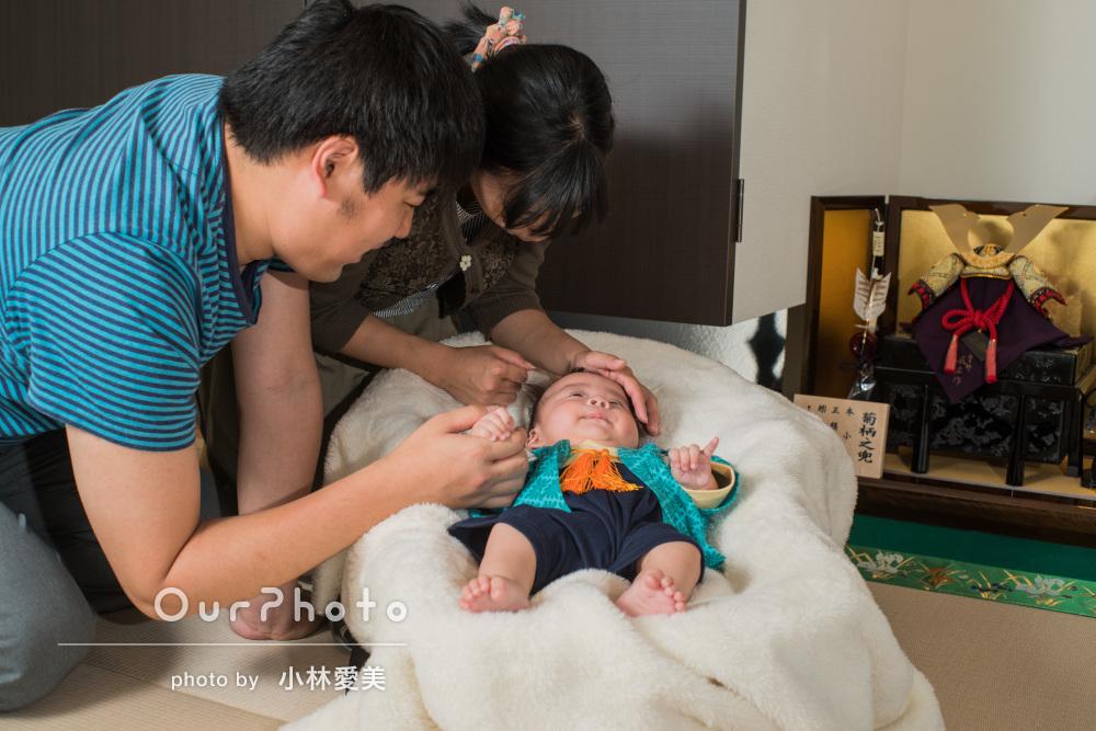 「緊張せずに撮影が出来ました」初節句のお祝いと家族写真の撮影
