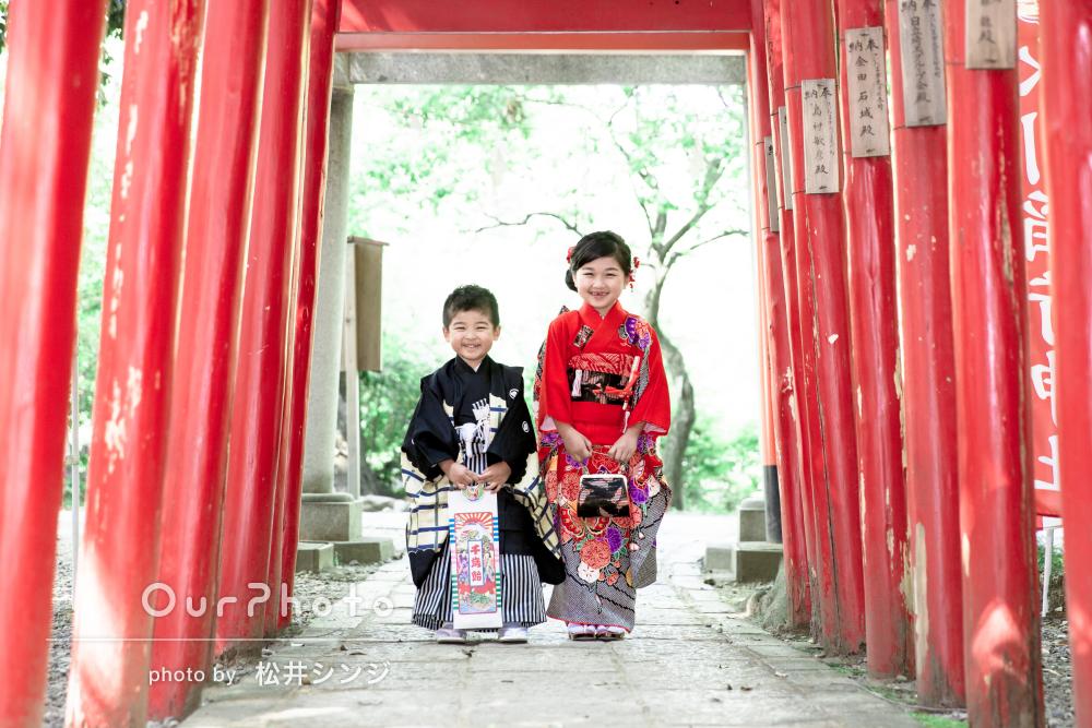 「粘り強く撮影していただきました」神社で姉弟の7歳5歳の七五三の撮影