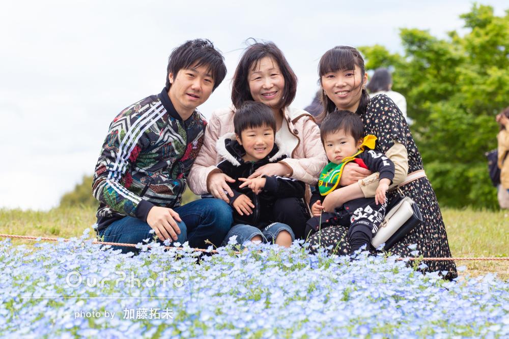 「自然な表情が出ていてよかったです」公園で家族写真の撮影