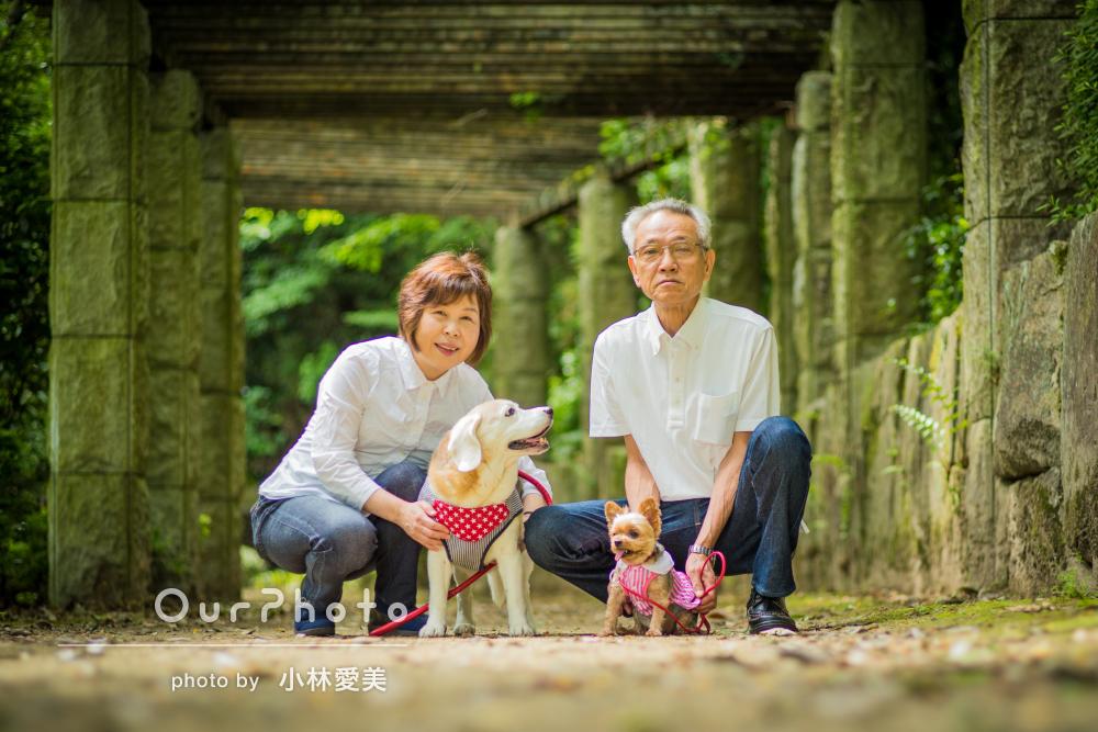 愛犬2匹と夫婦の思い出を形に!ペットとの記念写真の撮影