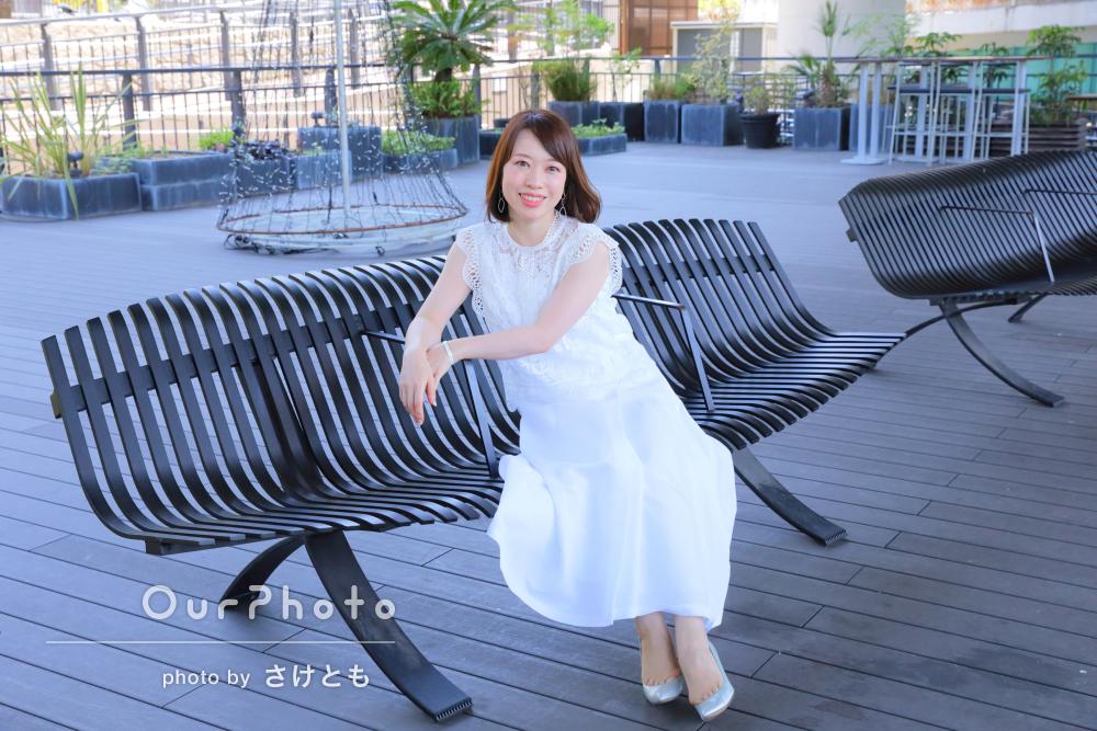 白いドレスが爽やか!初夏のプロフィール写真の撮影