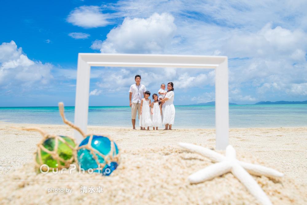 白い砂浜、青い空と青い海!石垣島での家族写真の撮影