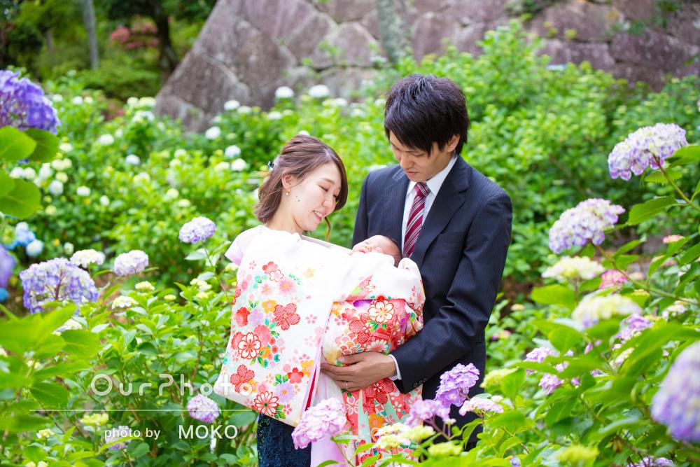 「短い時間でスムーズに撮影」紫陽花が美しいお寺でのお宮参り