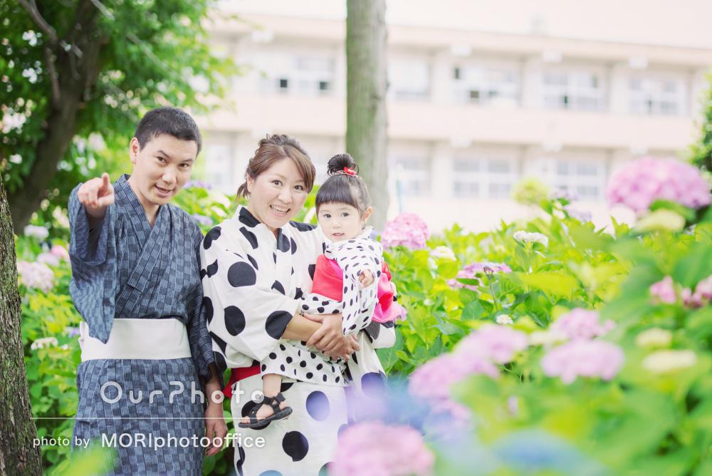 「いい記念になり宝物となりました」浴衣リンクコーデの家族写真の撮影