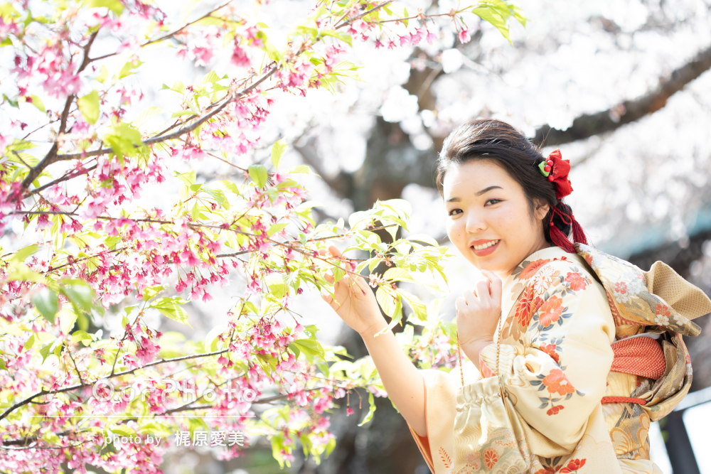 満開の桜の下で、元気いっぱい楽しい雰囲気の成人記念写真の撮影