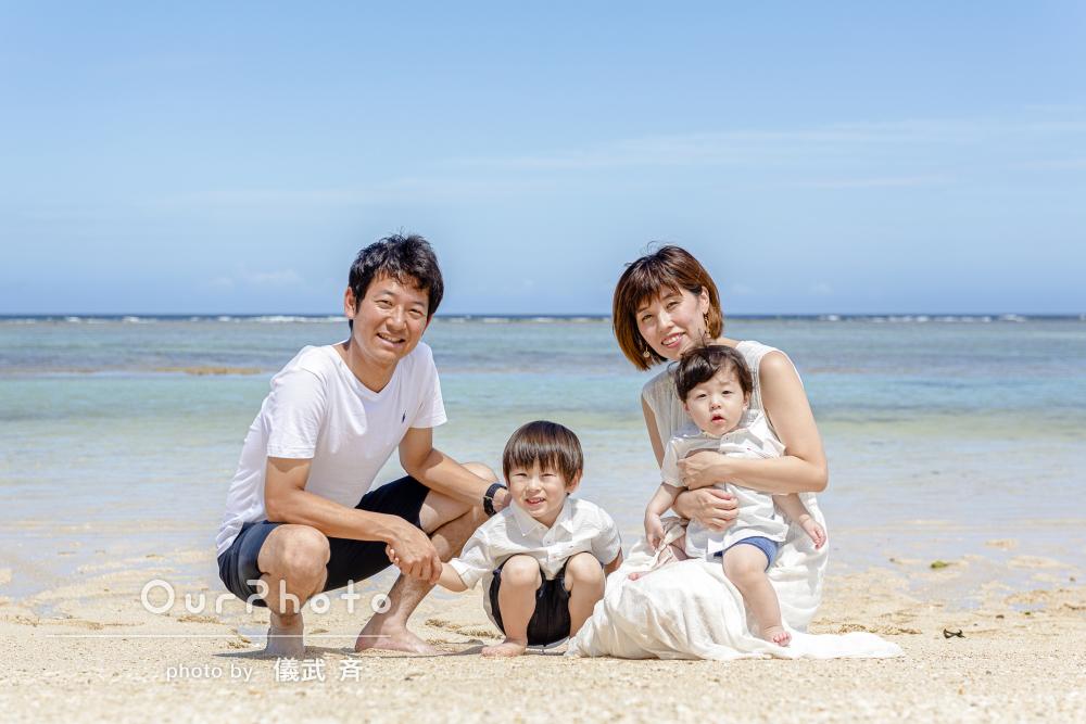 「楽しく撮影、息子も大喜び」ビーチでの家族写真の撮影