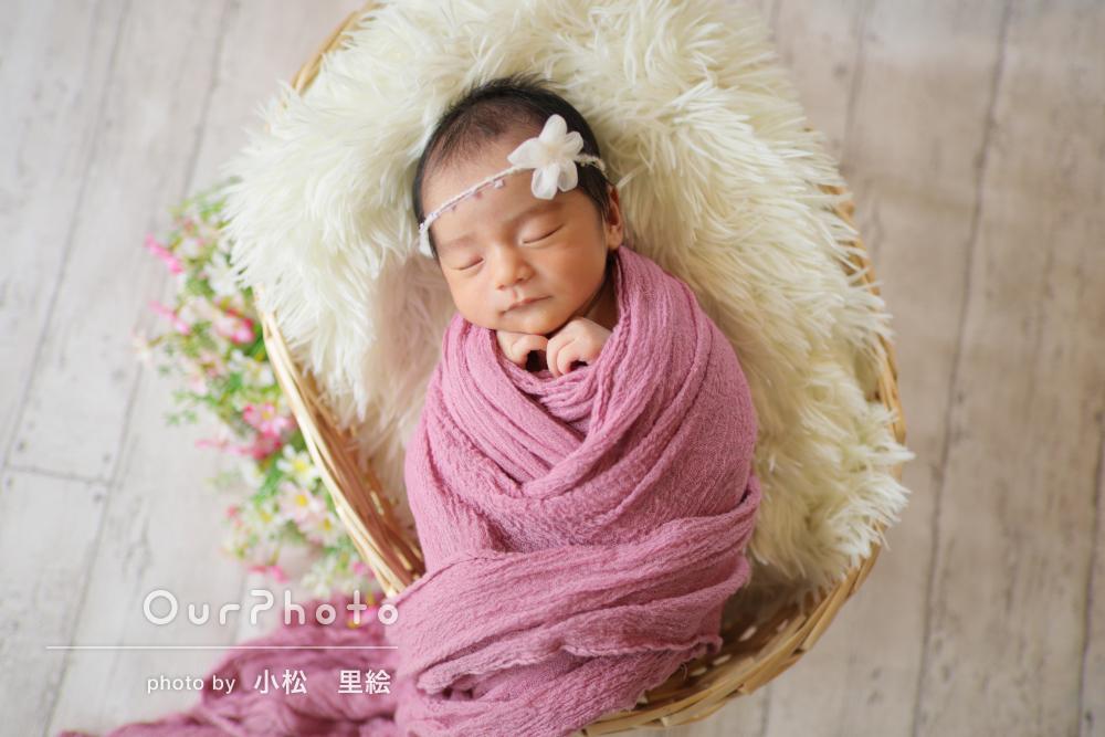 ご自宅で!すやすや寝顔と小物がかわいいニューボーンフォトの撮影
