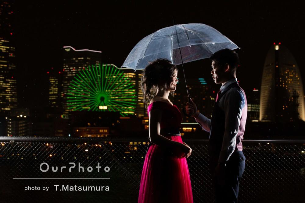 「夜間、雨という難しい条件の中とても親切」カップルフォトの撮影