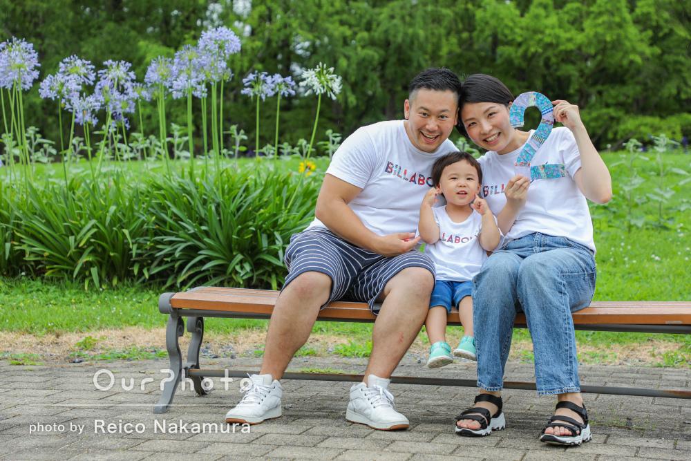 「雨とは思えないぐらい綺麗で大満足」2歳の誕生記念に家族写真を撮影