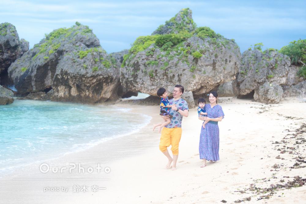 キラキラ笑顔がまぶしい!沖縄にて家族写真の撮影