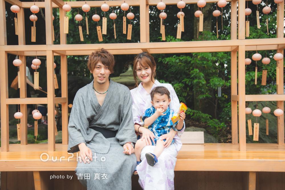 神社のお祭りにて浴衣コーデで仲良し家族写真の撮影