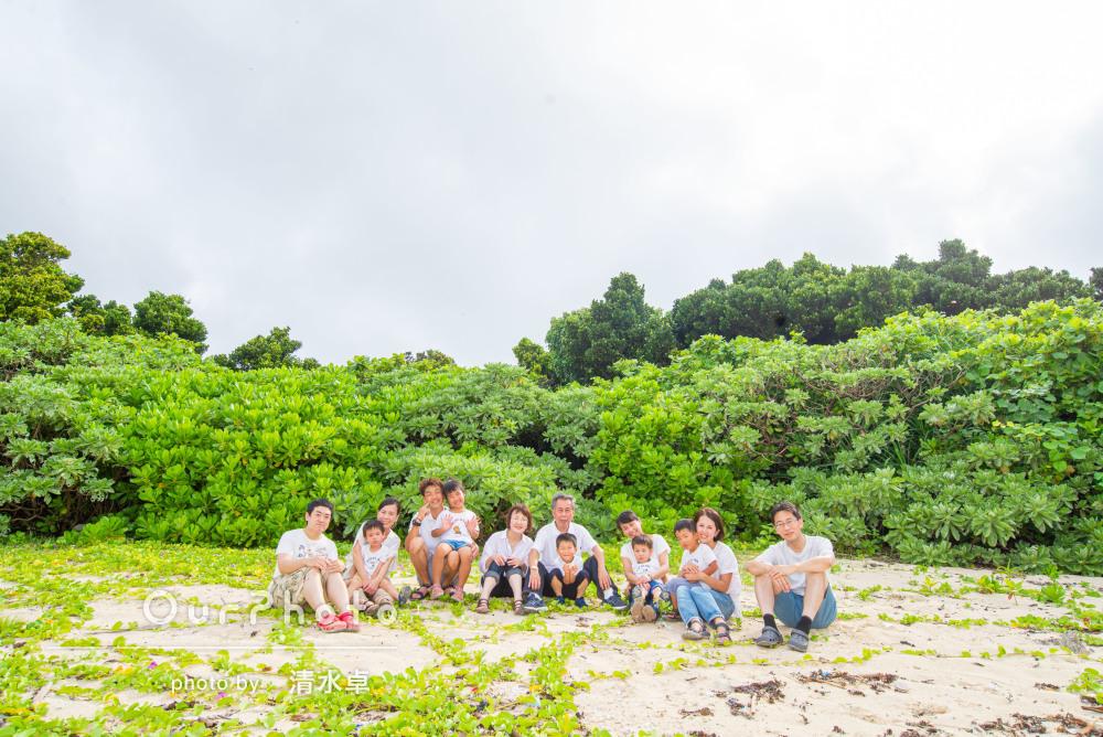 大人数でもお揃い白コーデで映え写真!家族旅行の撮影