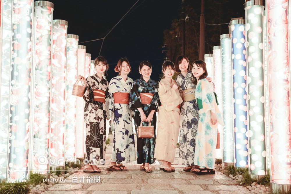 カラフルな浴衣に身を包んで!笑顔いっぱい京都旅行での友フォト