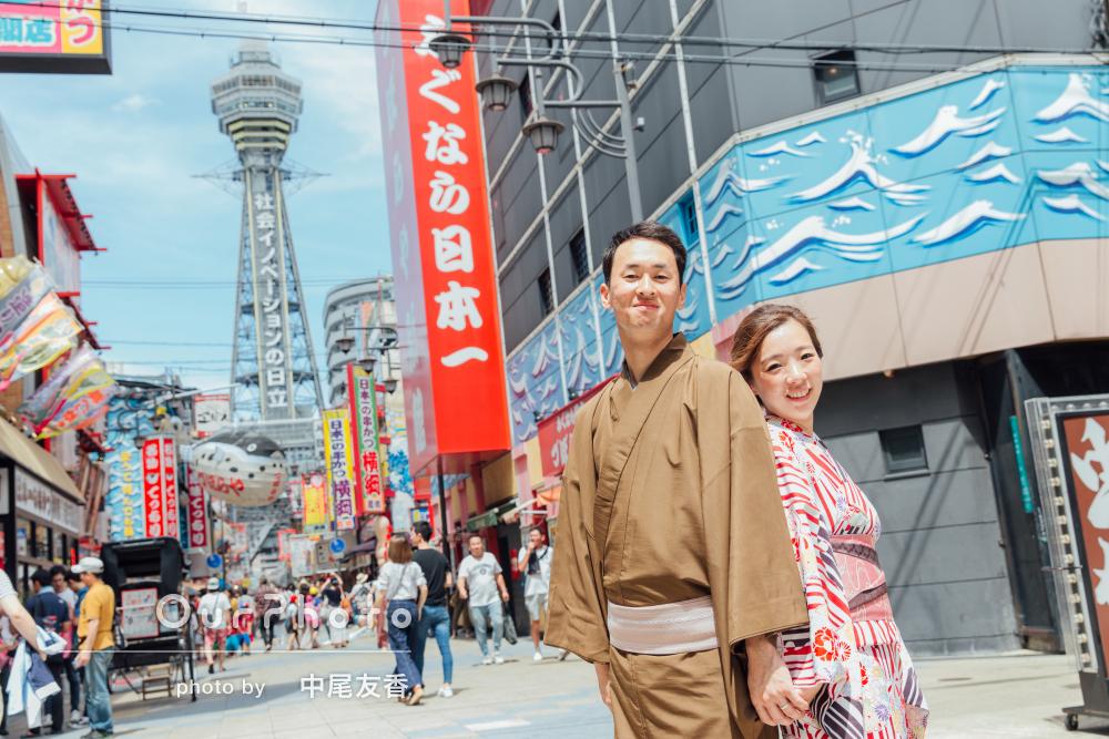 「良い写真ばかり」大阪の景色や雰囲気と和装がよく合うカップル写真