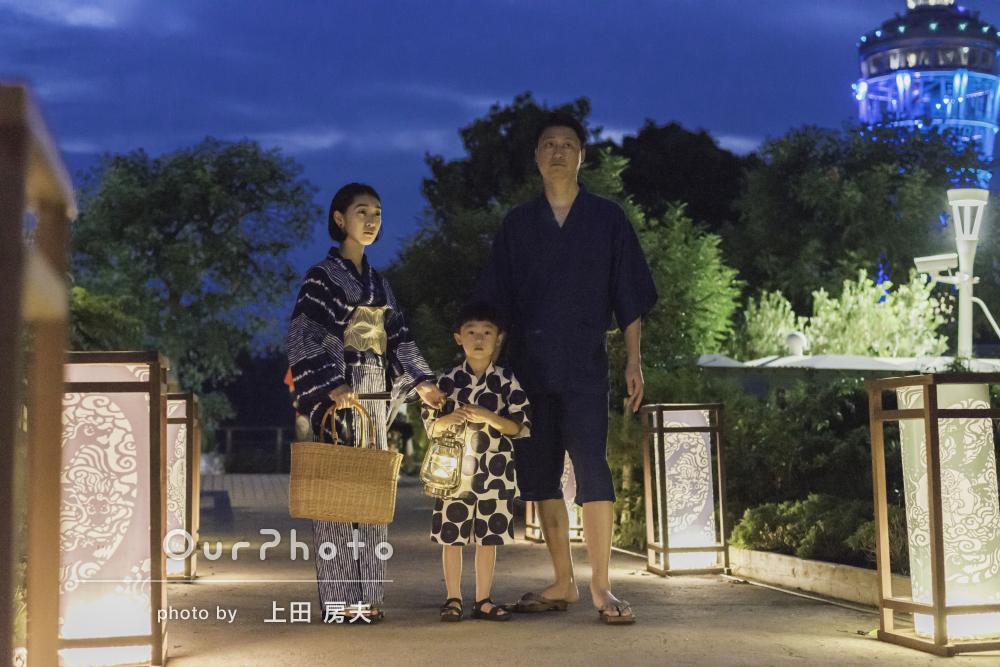 「希望に沿って撮影」灯りが幻想的!和装で家族写真の撮影