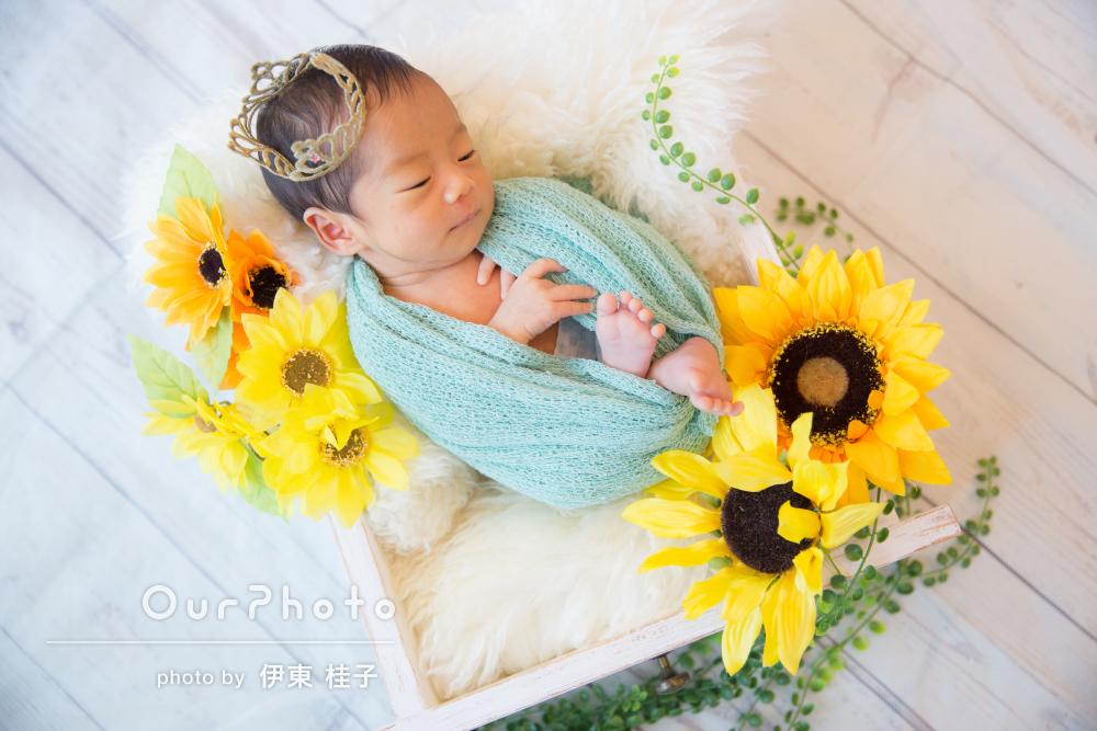 ひまわりが夏生まれの赤ちゃんにぴったり!ニューボーンフォトの撮影