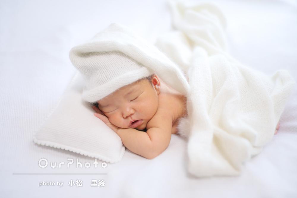 幸せに包まれた赤ちゃんの寝顔をパチリ!ニューボーンフォトの撮影