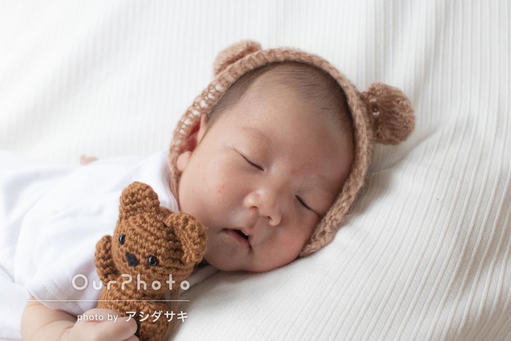 「とても気さくで話しやすく」寝顔が可愛いニューボーンフォトの撮影