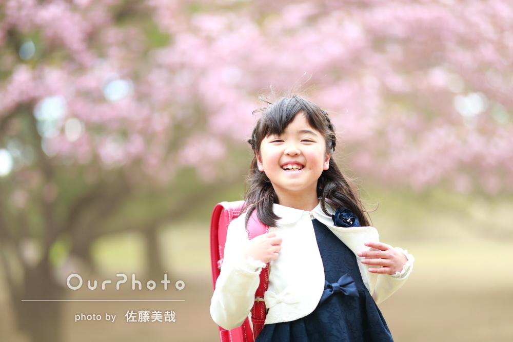 【撮影同行レポート Vol.24】春爛漫!桜の下でランドセル姿の入学記念撮影