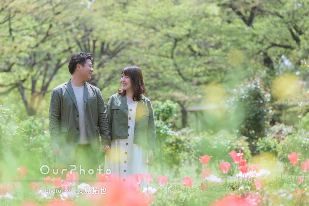 【撮影同行レポート Vol. 26】新緑の中で爽やかカジュアルに!春のエンゲージメントフォト撮影