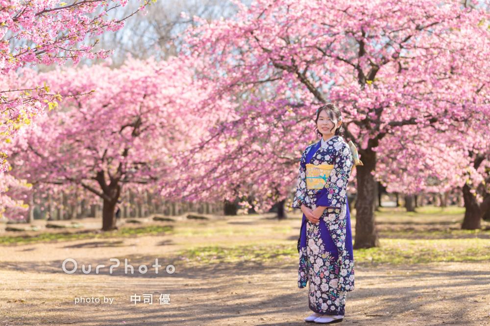 河津桜と姉妹2人で成人式の後撮り11