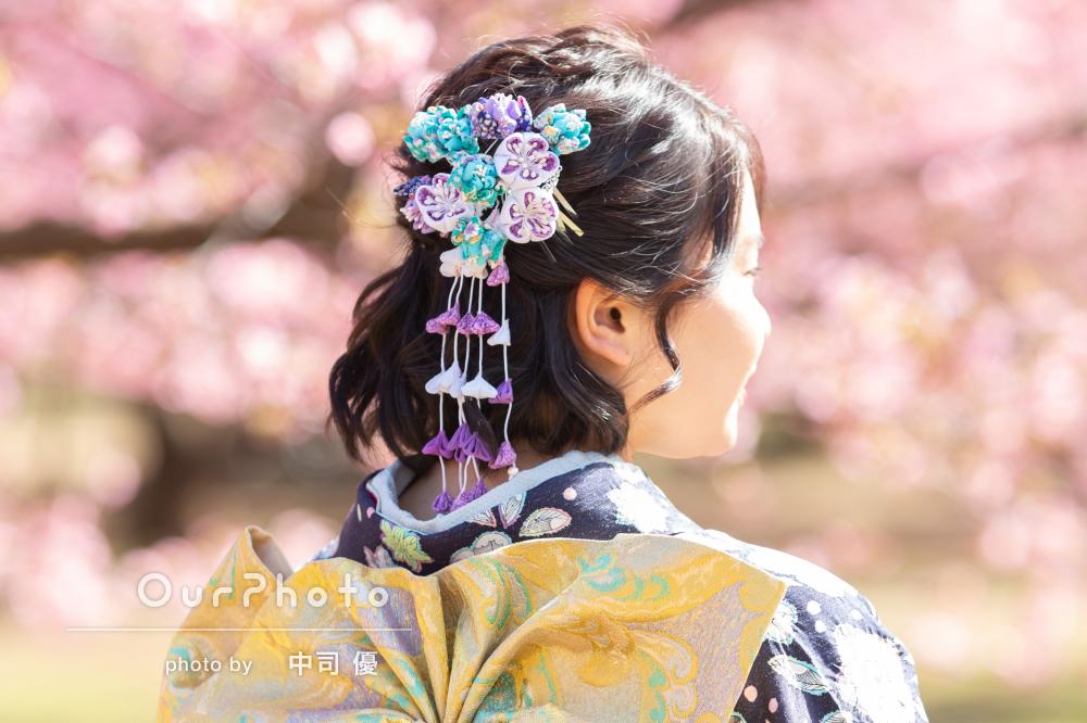 河津桜と姉妹2人で成人式の後撮り13