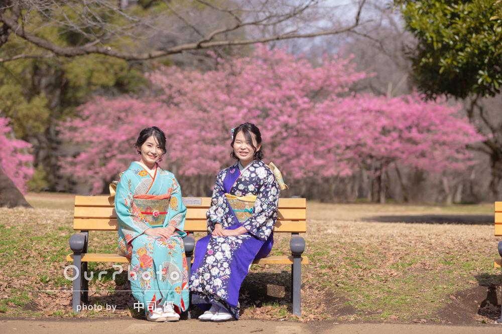 河津桜と姉妹2人で成人式の後撮り15