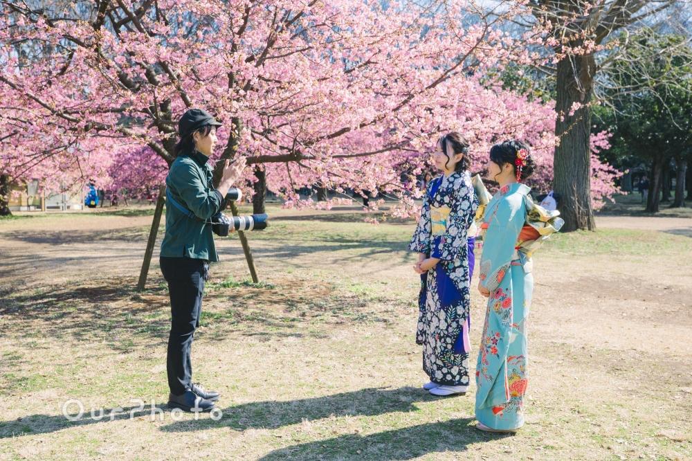河津桜と姉妹2人で成人式の後撮り1