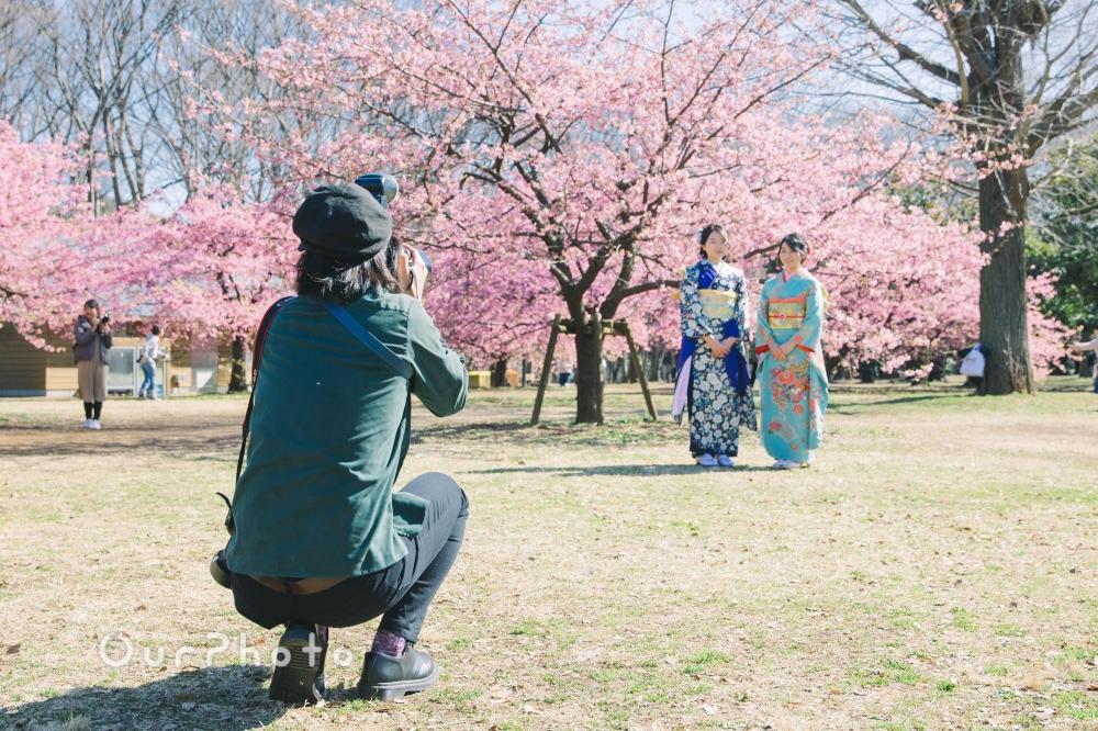 河津桜と姉妹2人で成人式の後撮り2
