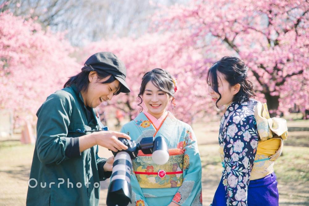 河津桜と姉妹2人で成人式の後撮り5