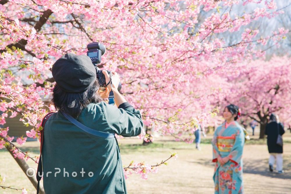 河津桜と姉妹2人で成人式の後撮り6