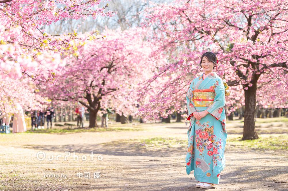 河津桜と姉妹2人で成人式の後撮り8