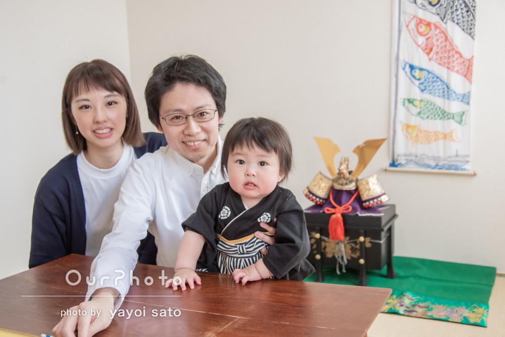 兜飾りと一緒に端午の節句のお祝い!初節句の家族写真の撮影に同行5