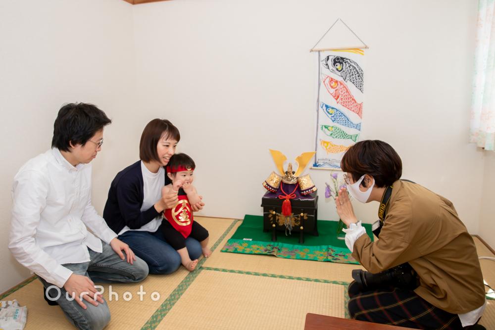 兜飾りと一緒に端午の節句のお祝い!初節句の家族写真の撮影に同行2
