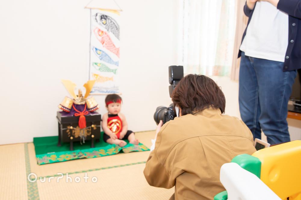 兜飾りと一緒に端午の節句のお祝い!初節句の家族写真の撮影に同行6
