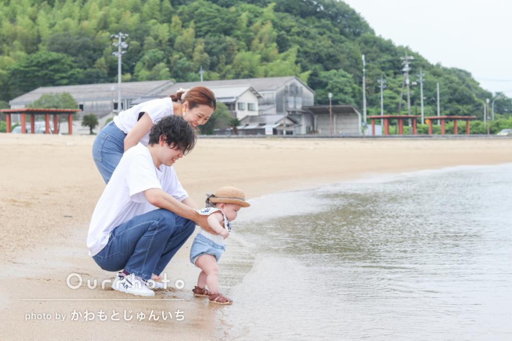 初夏のビーチで海を背景に!爽やかなリンクコーデの家族写真撮影を取材14