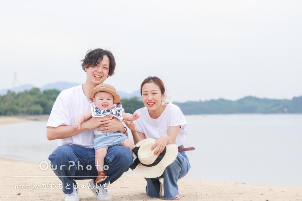 初夏のビーチで海を背景に!爽やかなリンクコーデの家族写真撮影を取材7