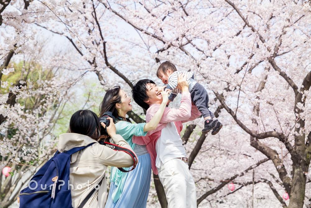 桜が満開の公園でカジュアル家族写真の出張撮影