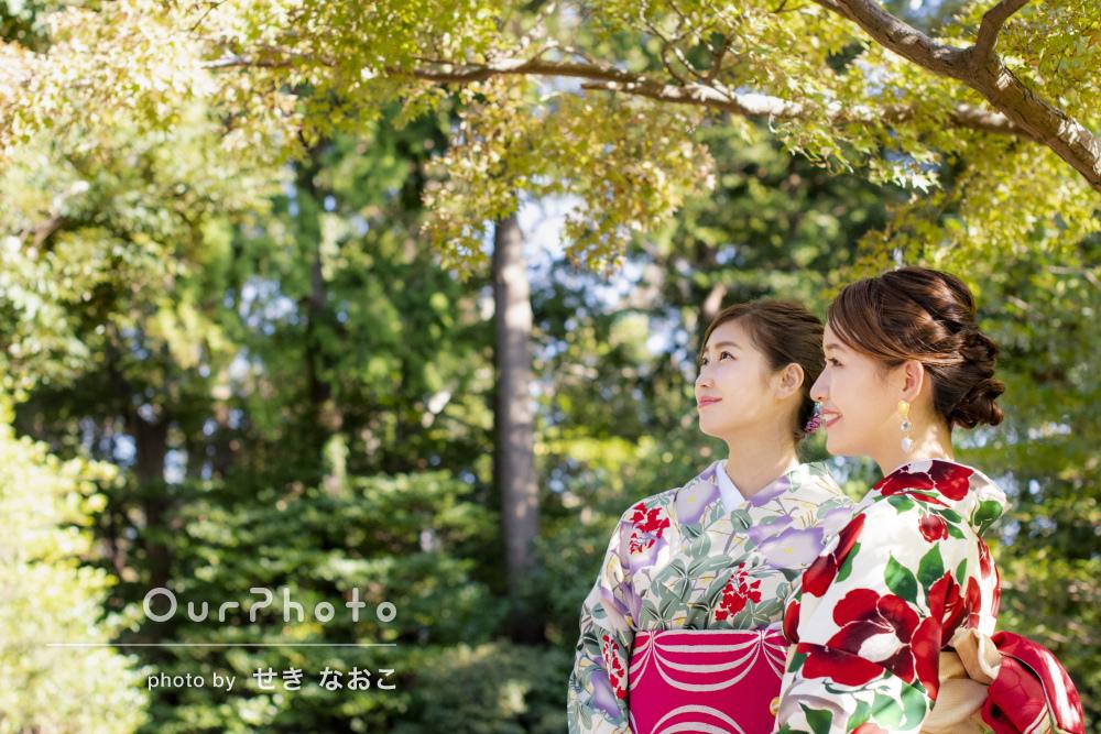 友達と和装での鎌倉散策に同行