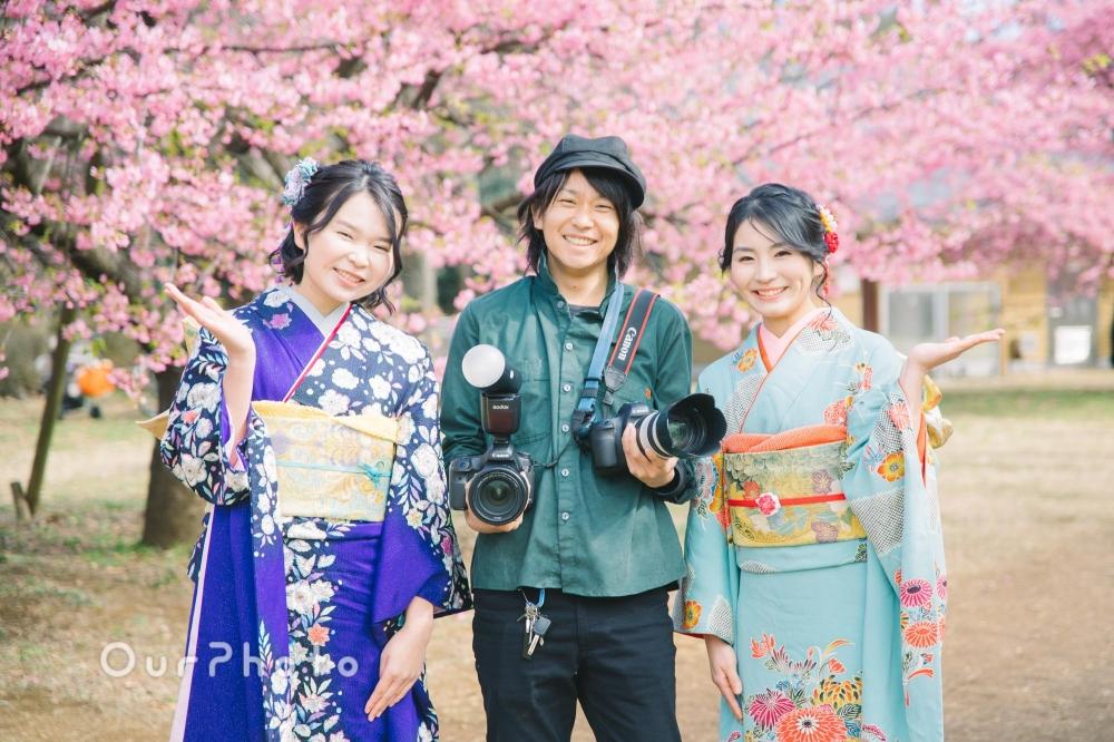 早咲きの桜の下で20歳の記念写真を!姉妹2人で成人式の後撮り