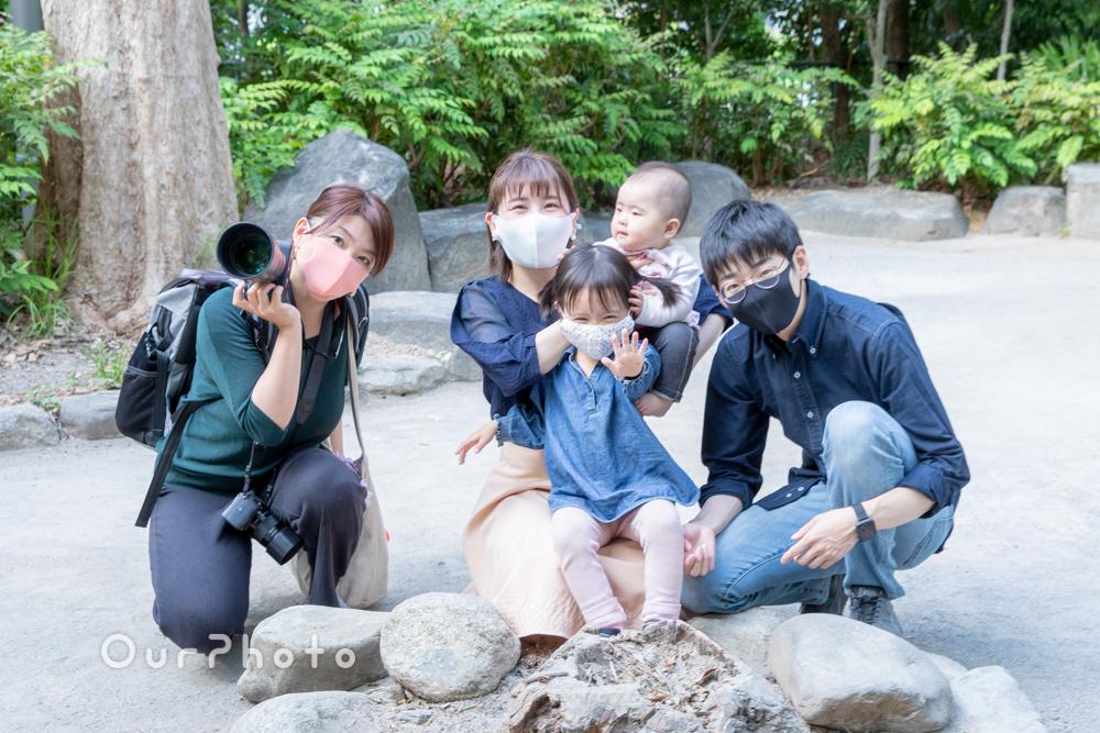 新緑が美しい公園で!自然体な姿を写す家族写真の撮影